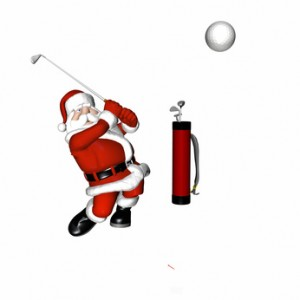 Santa Playing Golf. Hitting a long drive.